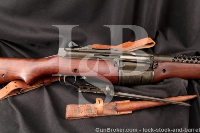 WWII Johnson Automatics Model 1941 .30-06 A Prefix Semi Auto Dutch Military Rifle & Bayonet 1941-45