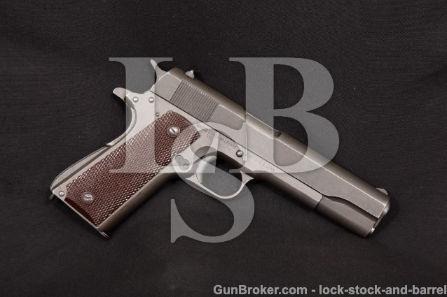 WWII Remington Rand Model 1911-A1 1911A1, 1944 C&R Parkerized 5″ SA Semi-Auto US Army Pistol, .45 ACP