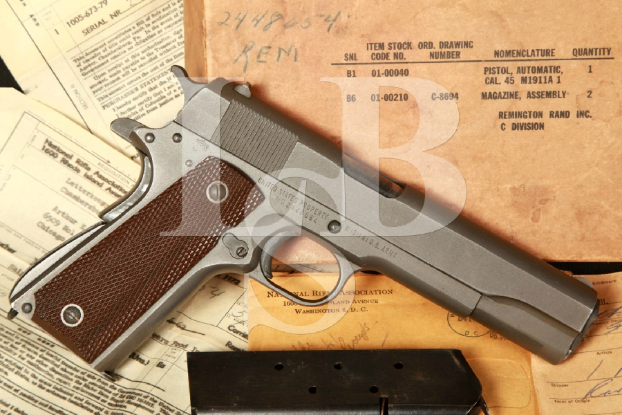 WWII Remington Rand Model M1911A1 1911-A1, 5″ Semi-Autom Pistol, NRA Invoice & Box, MFD 1945 C&R