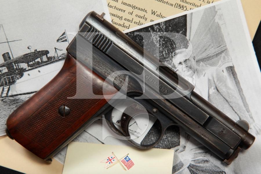 Walter Eric Carleton's Documented Mauser Pocket Model 1910 Side Latch Bootlegger's Semi Auto Pocket Pistol, C&R