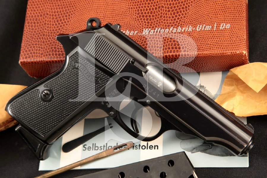 "Walther Model PP, West German, Non-Import, Sharp Blue 3 7/8"" DA Semi-Automatic Pistol, 2 Mags & Box, MFD 1968"