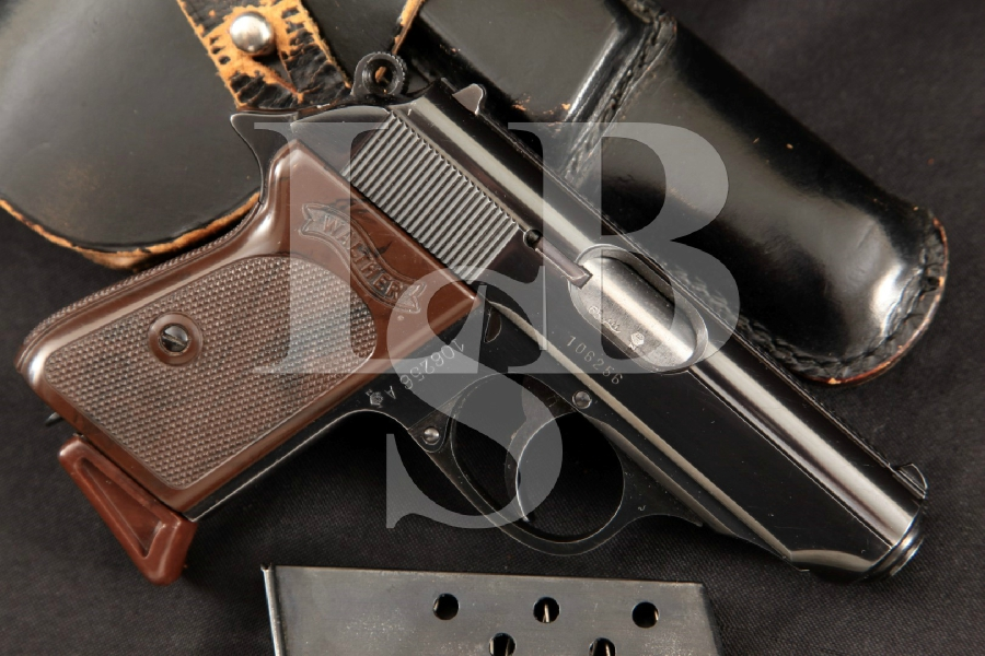 "Walther Model PPK Polizeipistole Kriminalmodell, Parts Matching Blue 3.3"" Semi-Automatic Pistol 2 Mags & Hoster MFD 1965 C&R"