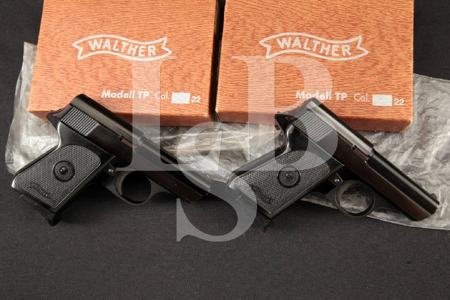 "Walther Model TP, Sequentially Numbered, Blue & Black 2.6"" Semi-Automatic Pistols & Factory Boxes, MFD 1969"