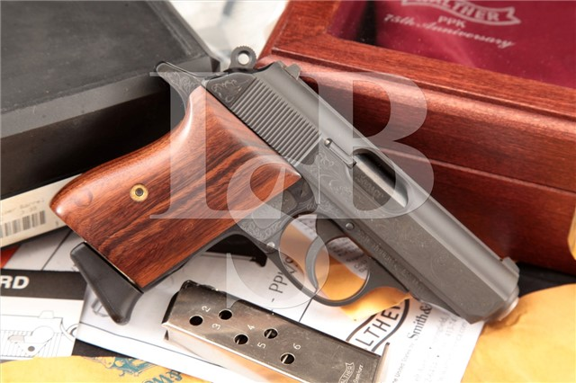 Walther PPK 75th Anniversary Limited Edition .380 Engraved, Blue & Gold Semi-Auto Pistol & Wood Case