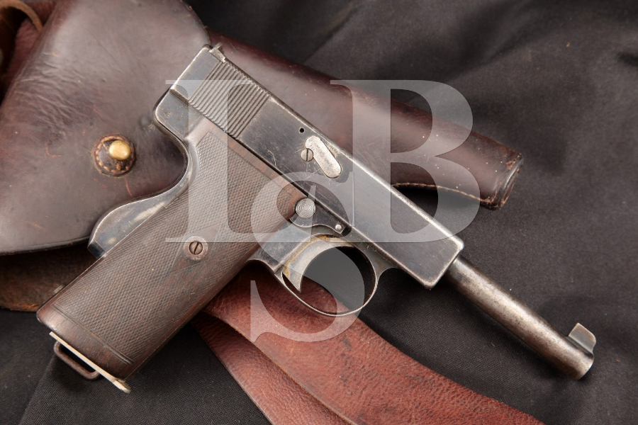 Webley & Scott Model 1910 Caliber .38 Type 1 Pistol, Indian Marked, Blue 5 INCH SA Semi-Automatic Pistol & Holster, MFD 1911 C&R