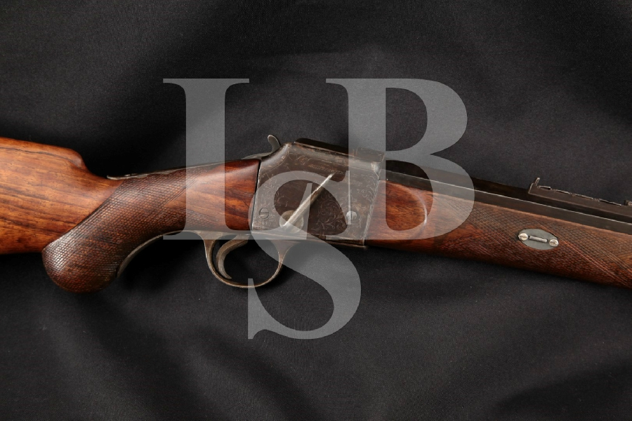 """Westley Richards Field's Patent of 1877 Sporting Carbine Model, Engraved Blue 25"""" Single Shot Falling Block Rifle, MFD 1882 Antique"""
