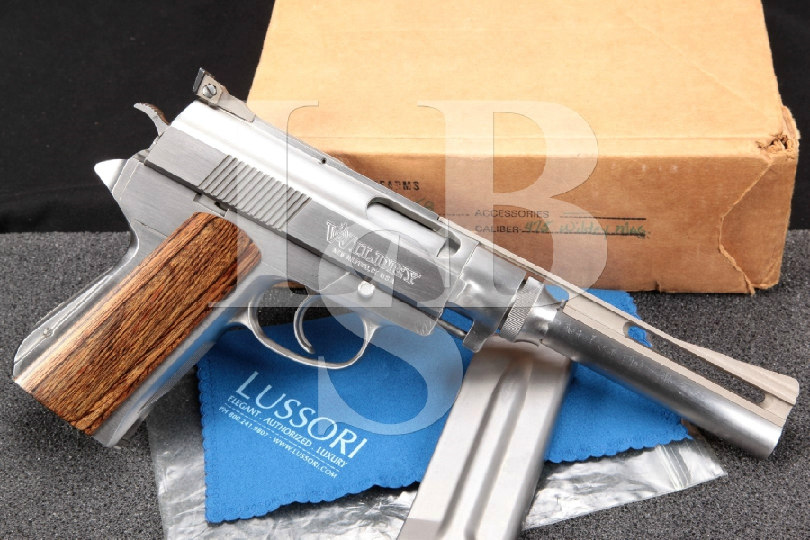 "Wildey Old Model 4758 Standard Auto Pistol, Stainless 8"" DA Semi-Automatic Pistol, 2 Mags & Factory Box"