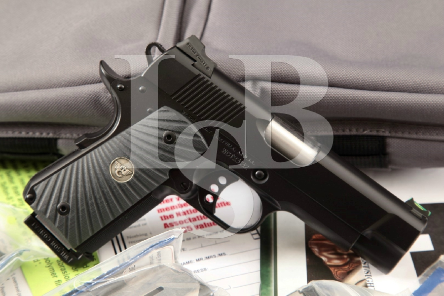 "Wilson Combat Custom CQB Compact 1911 Model, Mint Black 3 3/4"" Semi-Automatic Pistol, 4 Mags, Soft Case & More"