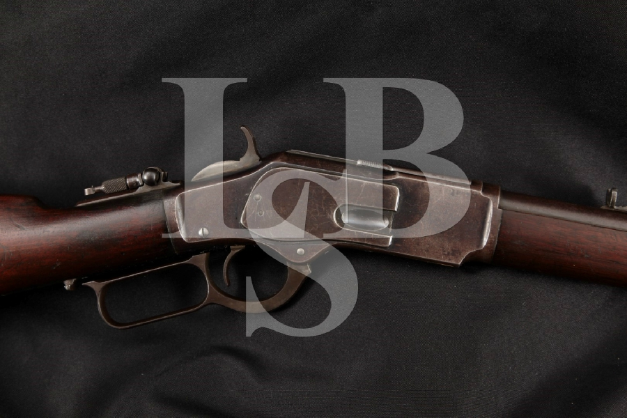 """Winchester 1873 3rd Model & Lyman No. 1 Combination Tang Sight, Blue 24 ¼"""" Lever Action Tube Fed Rifle, MFD 1890 Antique"""