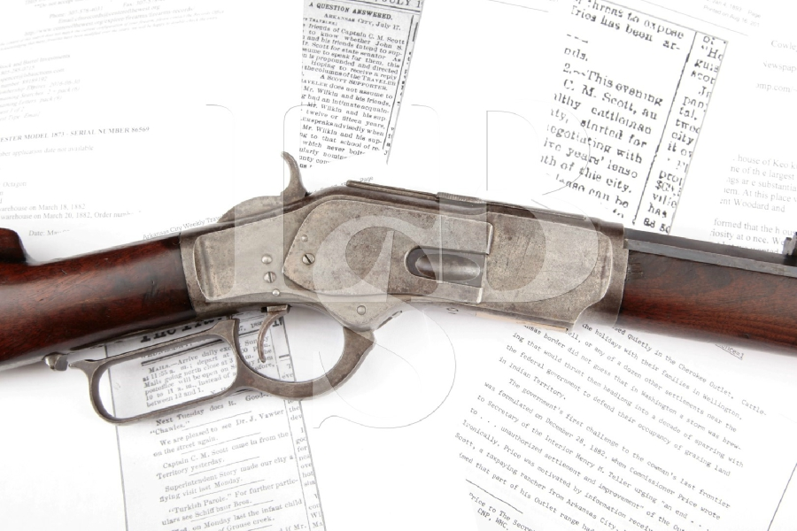 """Winchester 1873 M1873 with Named Fancy Wood Stocks, Blue & Case Hardened Octagonal 24"""" Lever Action Rifle & Paperwork, MFD 1882 Antique"""