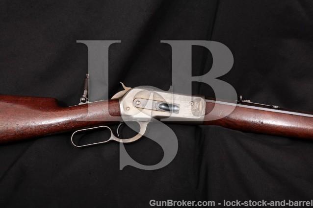 """Winchester 1886 86 Lever Action Rifle & Lyman Peep Blue & Case Color 26"""", MFD 1888 Antique .45-90"""
