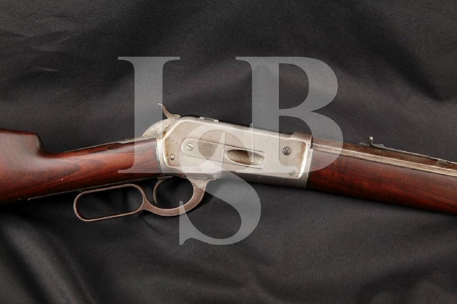 "Winchester 1886 with Half Octagonal, Half Round Barrel, Blue 20"" Lever Action, Button Mag. Rifle, MFD 1892 Antique"