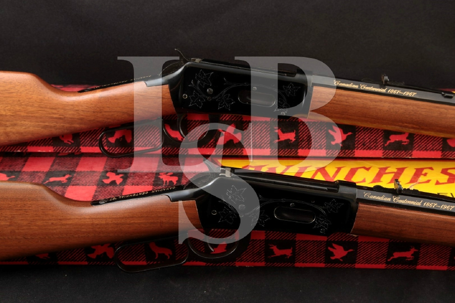 """Winchester Consecutive # Model 1894 Canadian '67 Centennials, Blue 20 & 26"""" Lever Action Tube Magazine Rifles in Box, MFD 1980"""
