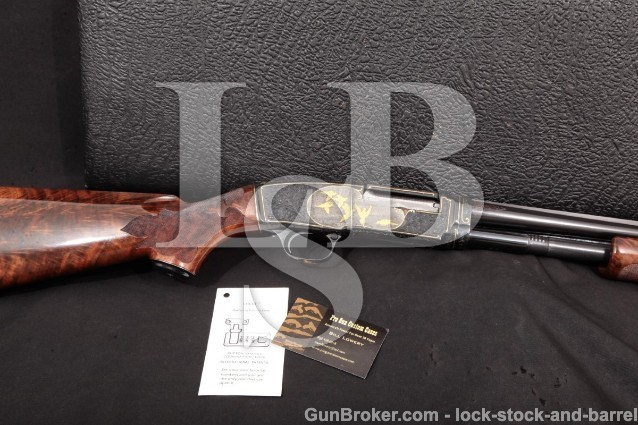 "Winchester Mod 42 Angelo Bee Engraved & Gold Inlay 28"" Pump/Slide Shotgun & Case MFD 1948 C&R .410"