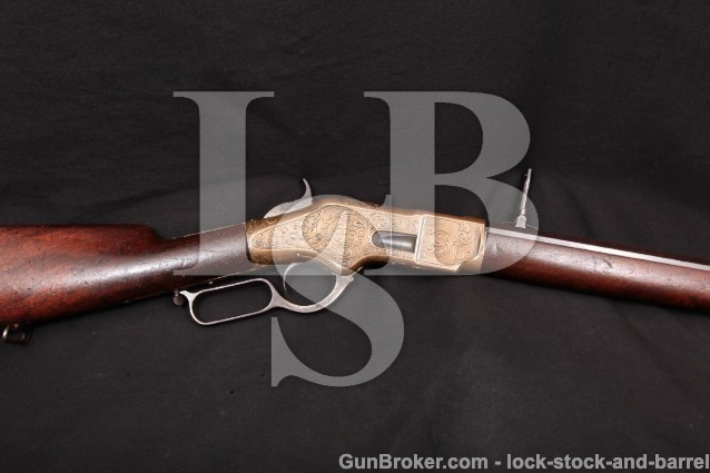 Winchester Model 1866 Factory Engraved Rifle, 1874 Ulrich Engraved, 24″ Lever Action Rifle, .44 Henry