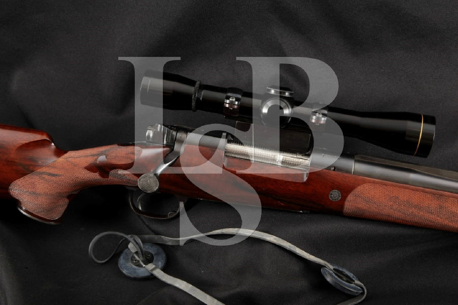 "Winchester Model 70 M70 Customized by Griffin & Howe, Blue 22"" Bolt Action Rifle & M8-6X Leopold Scope, MFD 1949"