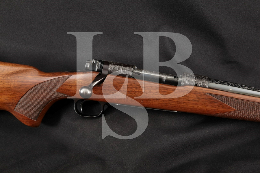 "Winchester Pre-'64 Model 70 Elaborately Engraved, Blue 24"" Bolt Action Rifle, MFD 1953 C&R"
